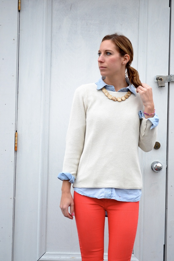 coral pants, cream sweater, light blue chambray shirt. yes.