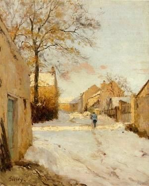 A Village Street In Winter  Alfred Sisley