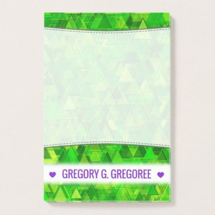 """Name; """"Forest"""" of Green Triangle Shapes Pattern Post-it Notes - light gifts template style unique special diy"""