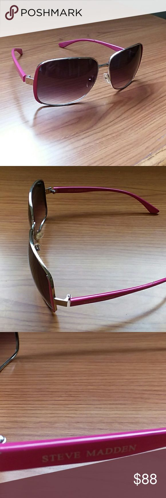 Steve Madden fashion sunglasses.. REALLY PRETTY AND ELEGANT  Steve madden  S5124 fashion sunglasses..pink color..  Add STYLE.             TO YOUR OUTFIT! Excellent CONDITION.. no scratches.. Needs arms adjust. (Any arms adjustment can be done for free at any eyewear store). BUNDLE AND SAVE EXTRA! Steve Madden Accessories Sunglasses