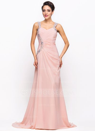 Evening Dresses - $146.99 - A-Line/Princess Sweetheart Sweep Train Chiffon Evening Dress With Ruffle Beading Sequins (017022730) http://jjshouse.com/A-Line-Princess-Sweetheart-Sweep-Train-Chiffon-Evening-Dress-With-Ruffle-Beading-Sequins-017022730-g22730