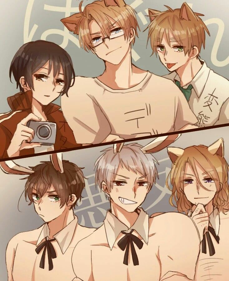 so I guessing Prussia is looking at America becuz they're both part of the awesome trio, spain is looking at England becuz they don't like each other and that's why they're making those faces and France is looking at England and that's why he making that face and japan is just there.... I VOTE BTT