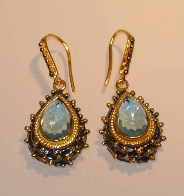 925 sterling silver byzantine / ancient style earrings gift aquamarine stone by NelitaCollection on Etsy