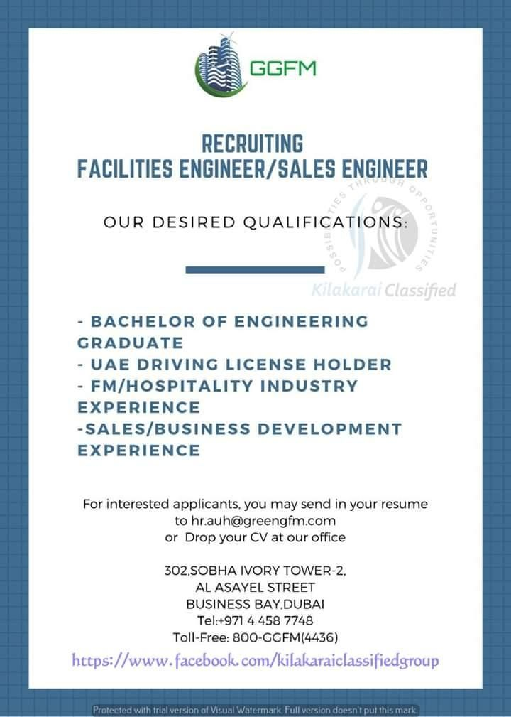 Facilities Engineer Sales Engineer Uae Openings Engineering