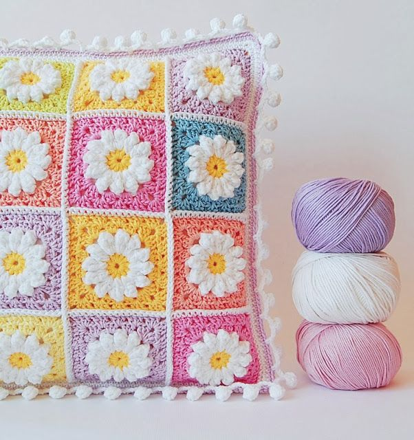 Daisy granny square pillow