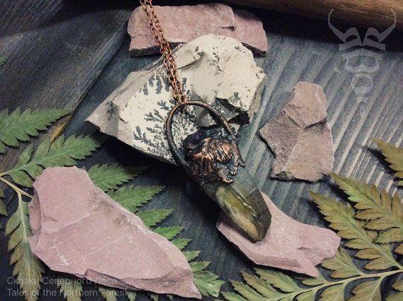 Медный кулон с кристаллом из эпоксидной смолы и папоротником внутри, кристалл аметиста, настоящий папоротник, гальванопластика