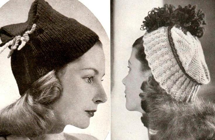 Wartime Knitting Patterns : Vintage 1940s wartime knitting pattern for 2 hats pdf dowload hats, hats, h...