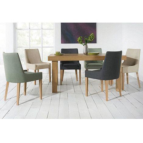 Debenhams Pair of duck egg blue 'Ella' upholstered tub dining chairs with light oak legs | Debenhams