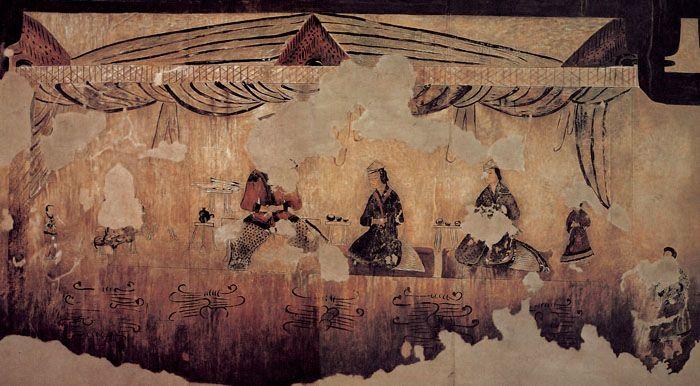 Pinturas encontradas en la excavación de la tumba Gakjeo (각저총) que representan a gente del reino Goguryeo.