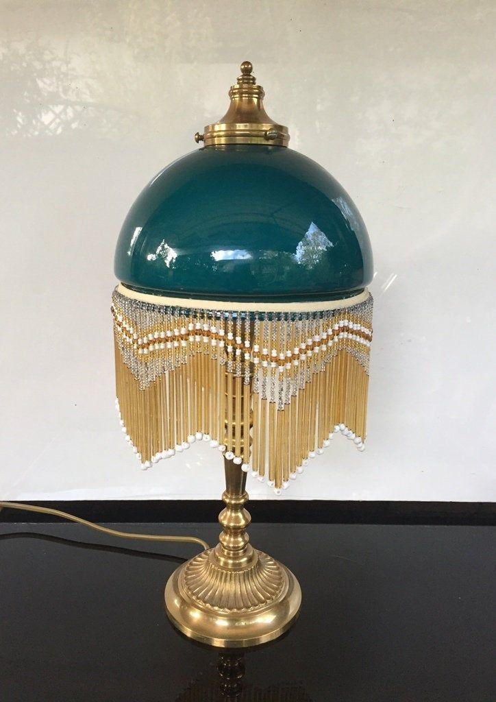 Antike Glas Perlen Lampe Art Deco Tischlampe Turkis Mint Grun Jugendstil Franzen Tischlampe Messinglampe Glasleuchte 1920 30er Jahre In 2020 Art Deco Lamps Art Deco Deco