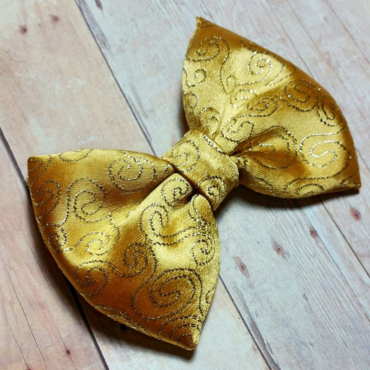 Beautiful Golden Fabric Hair Bow/Bow tie, Wedding Baby Toddler Girl Woman Hair Bow, Fabric hair Bow, Boy Bowties by CzechOutMyBows on Etsy