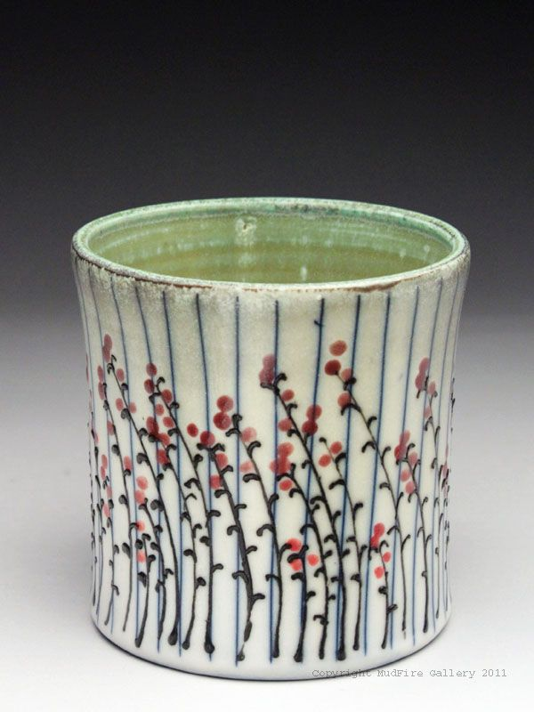 Kathy phelps cup with weeds at mudfire gallery clay for Clay pot painting techniques