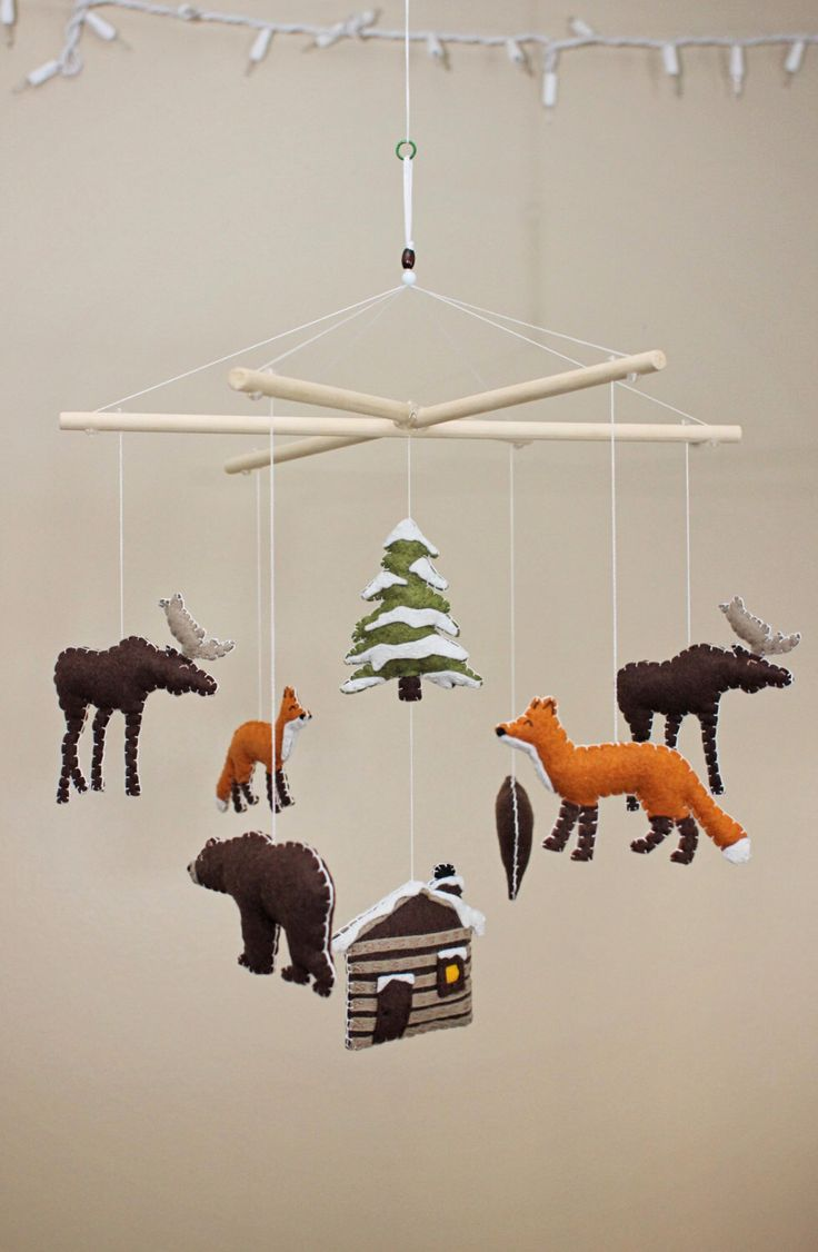 Winter Forest Animals / Camping / Woodsy / Rustic - Baby Mobile by EmilysSpace on Etsy https://www.etsy.com/listing/203721720/winter-forest-animals-camping-woodsy
