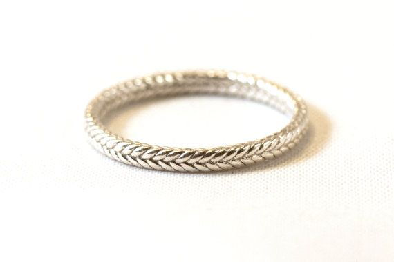 Infinity Braided Ring in 14kt White Gold by EmilyChelseaJewelry