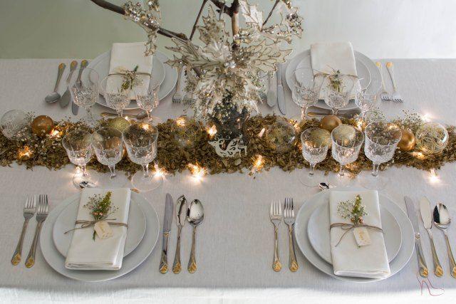 Decoración de una mesa de Navidad diferente, inspirada en la naturaleza.