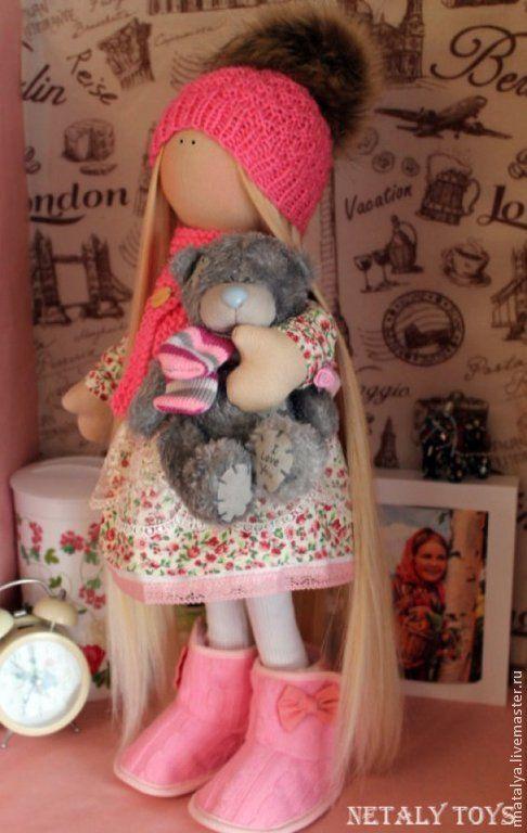 Купить Куколка с тедди - разноцветный, кукла ручной работы, кукла, кукла в подарок, ручная работа