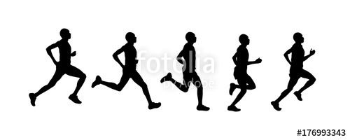 Vector: run silhouette, vector set of man running