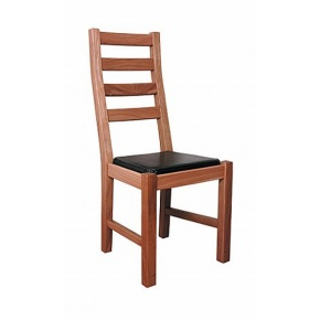 Lacar Solid Oak Curved Back Dining Chair Leather Pad  www.easyfurn.co.uk