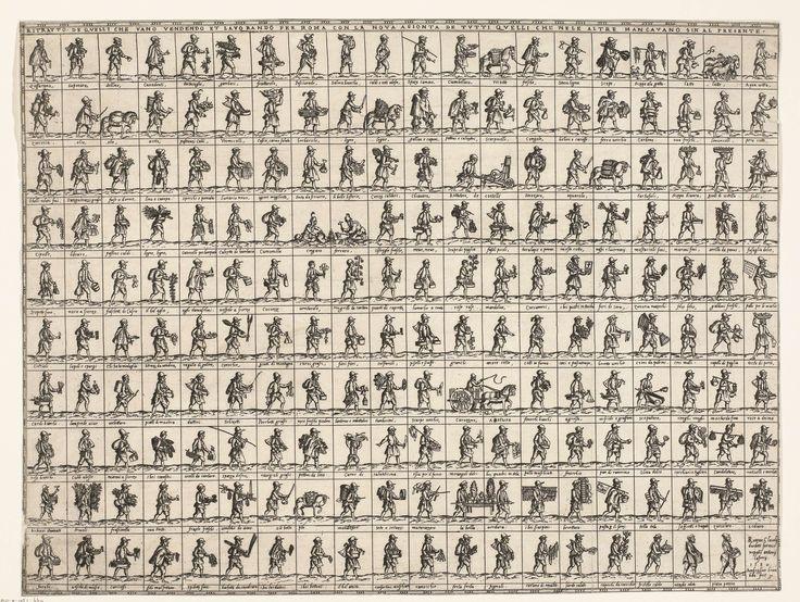 Ambrogio Brambilla | Romeinse straatventers, Ambrogio Brambilla, Claudio Duchetti, 1582 | Blad met 189 voorstellingen (Tien rijen van telkens 20 voorstellingen van straatventers) van Romeinse straatventers. In het laatste vakje rechtsonder geen voorstelling maar tekst. Onder elke voorstelling een vakje met tekst.