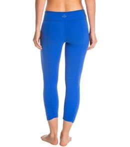 Beyond Yoga Back Gathered Yoga Capris - Bright Lapis - XS