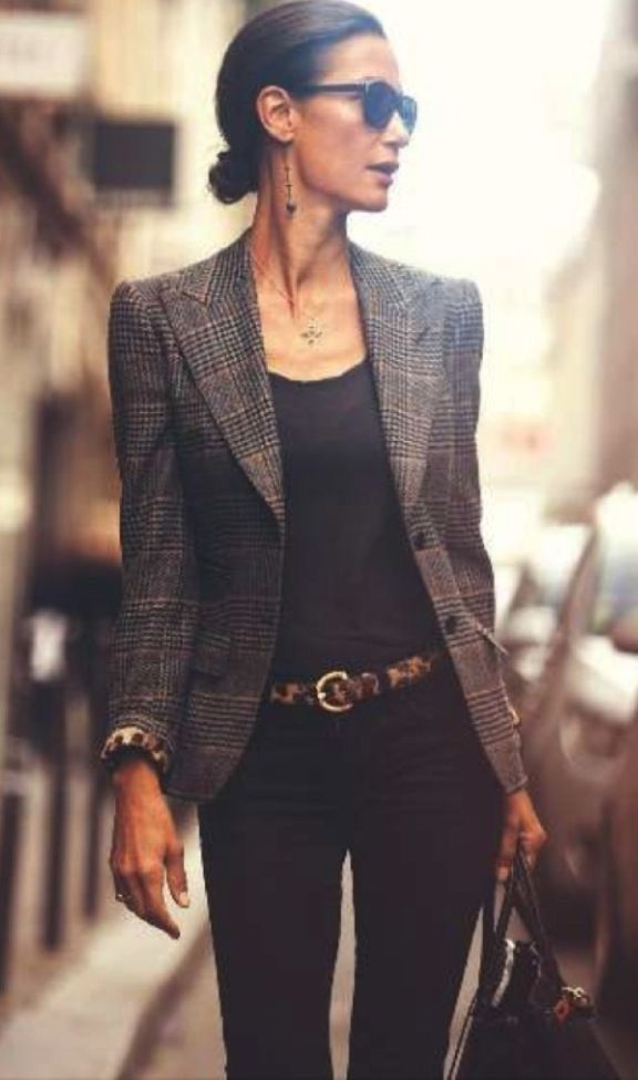 7265e3db129f Checked blazer over black top and jeans with brown belt and handbag ...