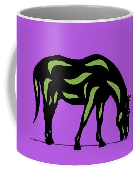 Coffee Mug | Hazel - Pop Art Horse - Black, Greenery, Purple by Manuel Süess | Learn more: http://artprintsofmanuel.com/products/hazel-pop-art-horse-black-greenery-purple-manuel-sueess-coffee-mug.html