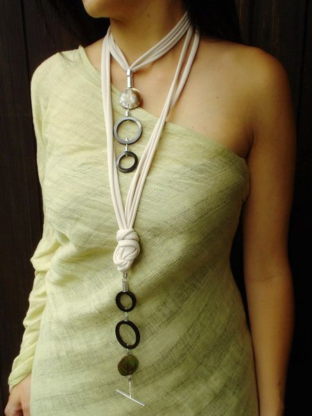 Handmade Long Necklace, statement necklace, mother of pearls, buffalo horn. Wearable in many different ways. Info: dendesign@live.com