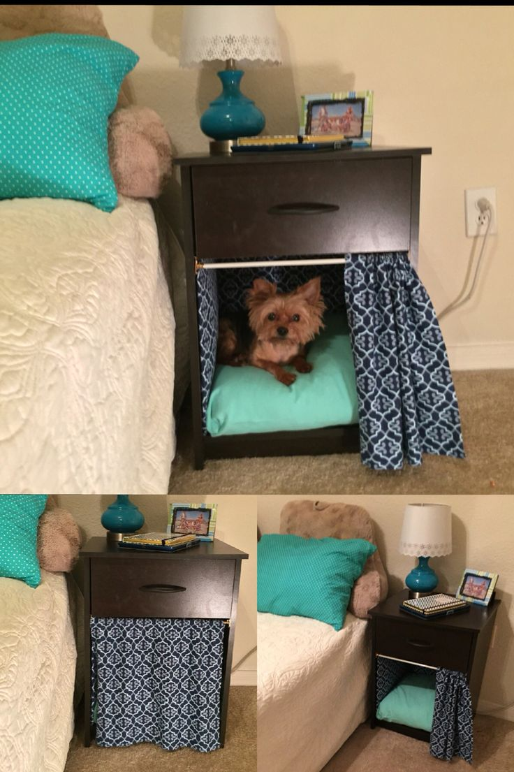 Dog bed in nightstand