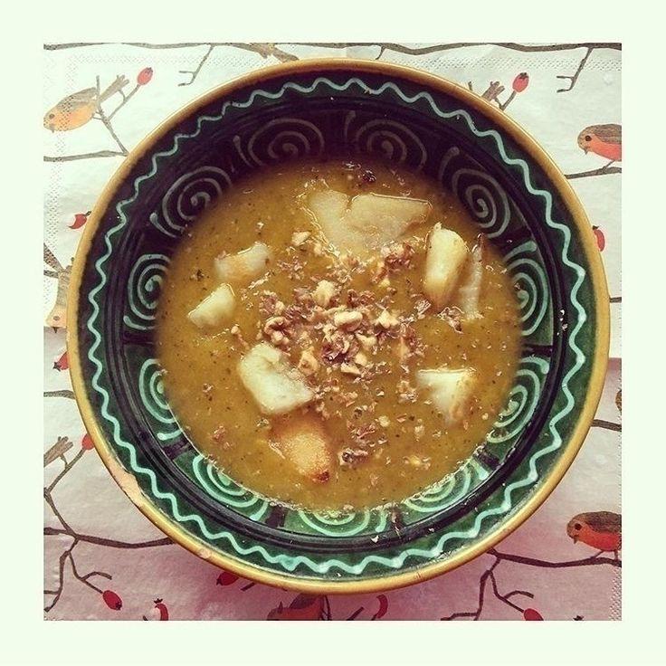 Pumpkin Soup with Roast Walnuts and Potatoes