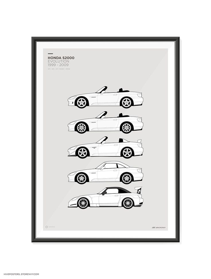 """Features+all+generations+of+the+S+2000  AP1,+AP2,+CR,+Mugen,+Hardtop,+Amuse+GT1.    A2+420mm+x+600mm+(23.4""""+x+16.5"""")    These+are+high+quality+fine+art+prints.  Printed+using+an+Epson+Stylus+Pro+printer+onto+190gsm+satin+photo+paper.  Incredible+detail,+resolution+and+vibrancy.    Frame+not+inclu..."""