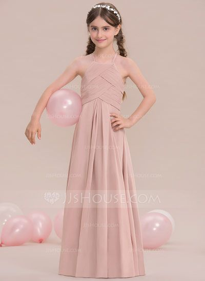[US$ 63.69] A-Line/Princess Scoop Neck Floor-Length Chiffon Junior Bridesmaid Dress With Ruffle