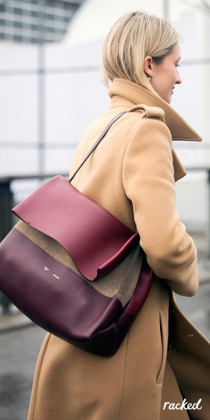 An Oxblood Céline Bag Worn With a Camel Coat at New York Fashion Week // More Winter Style Ideas from the Best NYFW Fall 2016 Street Style: (http://www.racked.com/2016/2/12/10966400/nyfw-street-style-fall-2016)