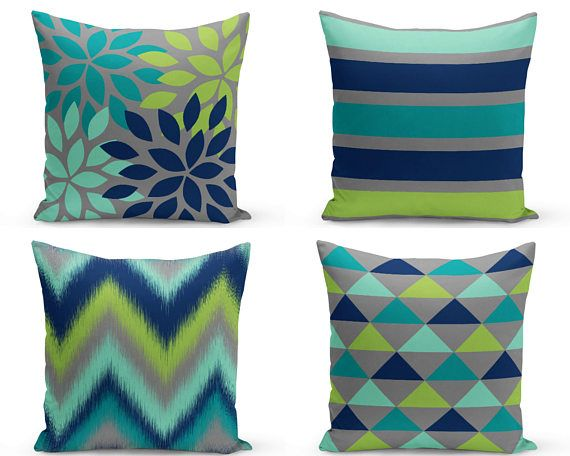 Outdoor Pillows Navy Teal Grey Pear Green Lucite Green Outdoor