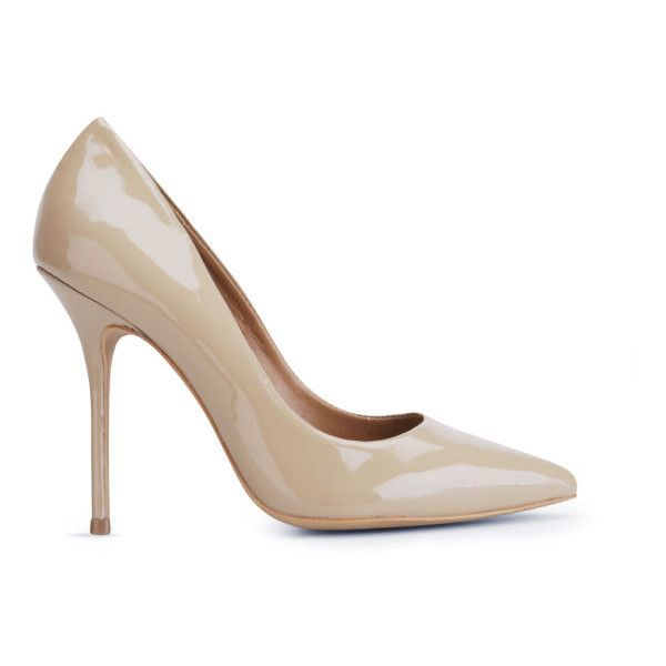 Kurt Geiger Women's Ellen Patent Heeled Court Shoes ($295) ❤ liked on Polyvore featuring shoes, pumps, heels, nude, patent leather pumps, pointed-toe pumps, nude heel shoes, nude high heel pumps and nude shoes