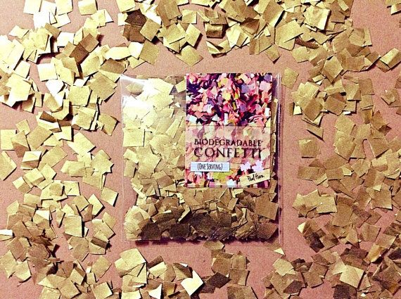25 Metallic Gold Confetti Biodegradable Packs by InsideMyNest