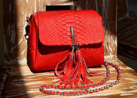 genuine python leather bag red by OkeanaAccessories