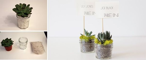 4 wedding decorations with succulents