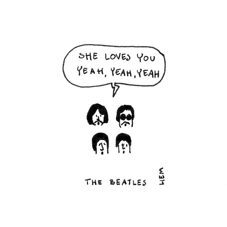 The Beatles. She Loves You. 365 illustrated lyrics project, Brigitte Liem.