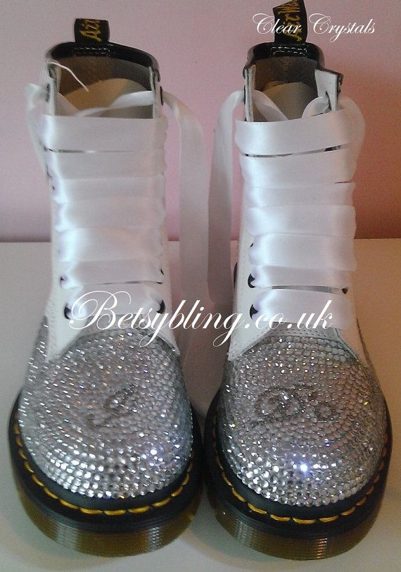 **15% off original price of £173.87**  Wedding Crystal Dr Martens available in Adult Sizes.   Stunning wedding themed Dr Marten boots in white or