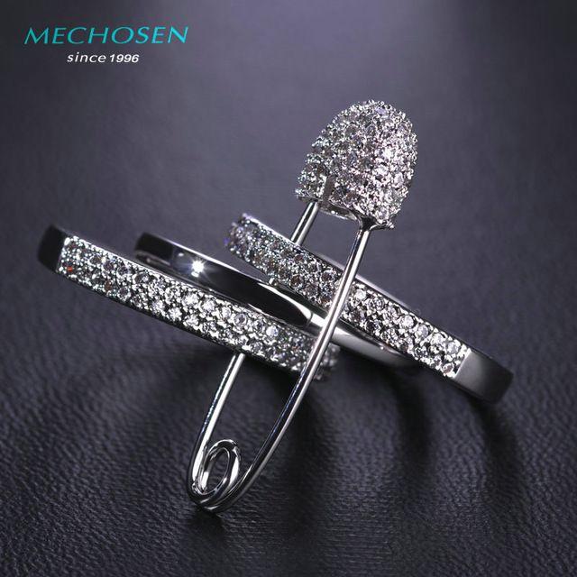 Mechosen gothic punk cobre três anéis de dedo com o pino para mulheres CZ Zirconia Wide Aros de Noiva Festa de Casamento Anel Ródio Joyas