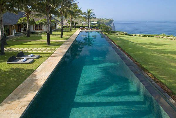 modern architecture - the istana - uluwatu - bali - exterior view - swimming pool
