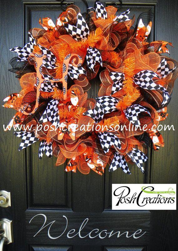 Fall Wreath Halloween Wreath Mesh Wreath Burlap by poshcreationsKY