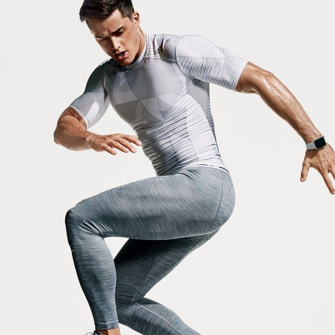 T-shirt, $28, + tights $35 by Adidas / Sneakers, $160, by Nike / http://www.uksportsoutdoors.com/product/gore-running-wear-mens-long-running-tights-light-gore-selected-fabrics-mythos-2-0-long-tmytlm/