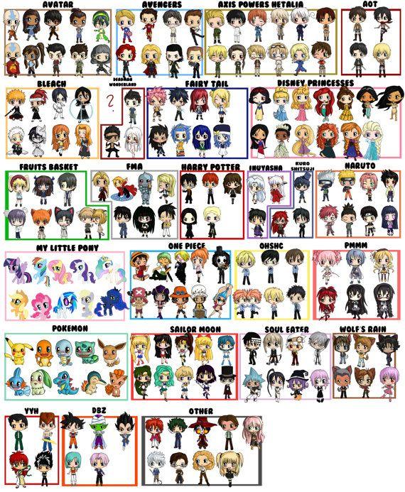Custom Chibi Character Tote Bag, Custom Bag Choose 46