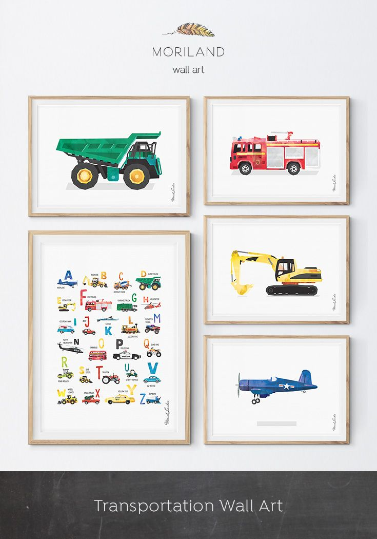 Transportation Nursery Decor, Playroom Decor, Nursery Decor, Printable Boys Wall Art, Dump Truck Art Print, Dump Truck Wall Décor, Construction Decor, Construction Print, Excavator Printable, Truck Nursery, Transportation Décor, Construction Wall Art, Excavator Wall Art, Alphabet Print, ABC Poster, Transportation Alphabet Poster, Toddler Boy Room Décor, Fire Truck Décor, Truck Themed Room Décor, Kids Room Airplane Wall Decor, By MORILAND Wall Art #kids #wallart