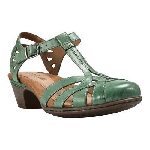 Rockport Women's Cobb Hill Aubrey T Strap Sandal, Size: 11 M, Teal Full  Grain Burnished Leather