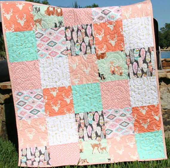 Quilt Kit Girl Aztec Feather Tribal Woodland Rustic Buck
