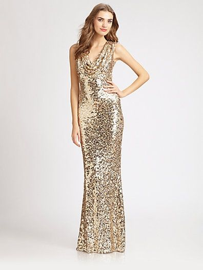 Badgley mischka gold glitter dress