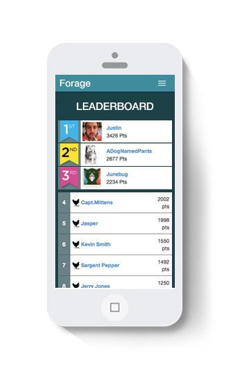 A leaderboard makes seeing progress easy; Forage tool for planning scavenger hunts.