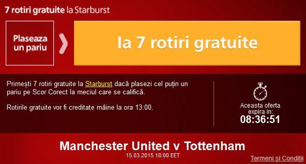 Pariaza pe Man United - Tottenham si ia 7 rotiri gratuite la cazino - Ponturi Bune
